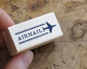Air Mail Airplane Line Rubber Stamp