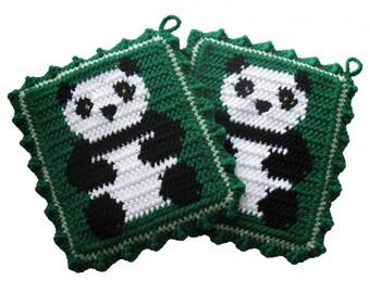Panda Bear Potholders. Green pot holders with black and white crochet pandas. Panda decor. Animal pot holder
