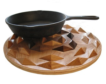 Wood decor hot pad.  Round geometric trivet, centerpiece or woodwork wall art.