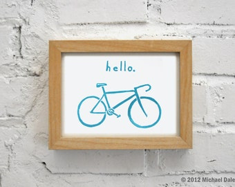 Hello Bike Art Linocut Relief Print Printmaking - Bicycle Small Gift Art Print