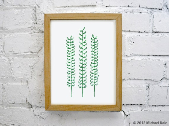 Forest Fern Green Linocut Block Relief Print - Plant Fern Flowers Garden Forest Home and Garden Decor