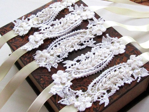 Wedding jewelry, wedding accessory,Set of 5 OOAK Victorian French Couture,bridesmaids bracelet, Bridesmaid jewelry