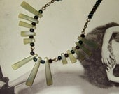 Art Deco Necklace, Green Jade, Bead Collar, Geometric Necklace, Great Gatsby Style, Graduated Necklace, Twenties Style, Pale Green Jewelry