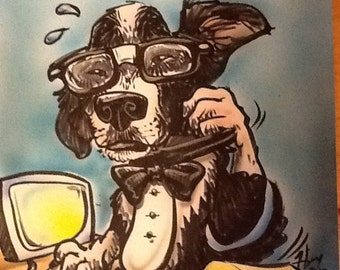 Pet Caricatures, Dogs, Cats, Birds, Etc. imagine your pet is a person and I can draw them.