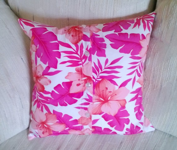 Pink Pillow Cover Flower Hawaiian Shirt 16 X 16 Upcycled, Eco Friendly