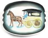 Vintage Ashtray, Horse Drawn Delivery Carriage, JAPAN, Vintage Ashtray