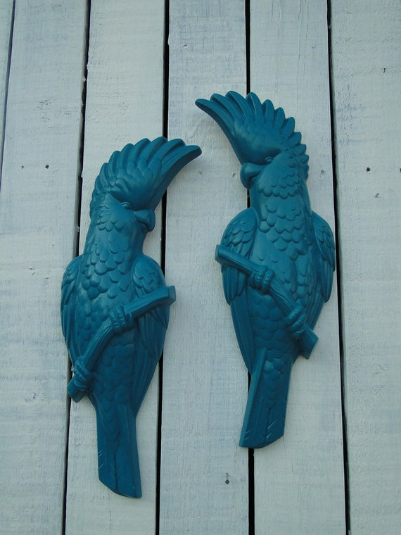 Vintage Teal Wall Decor : Updated vintage wall decor bird plaques teal by trwpainted