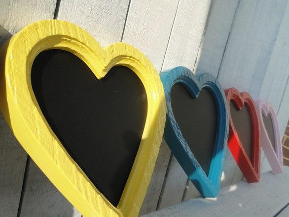 Small Heart Framed Chalkboard Office Nursery School Kitchen Wedding Decor in Sun Yellow