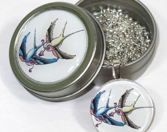 Vintage tattoo style Swallows necklace with matching gift tin