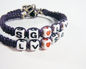 Couples Bracelets w/ White Cube Beads & Purple Hemp Set of 2 Valentines Gift