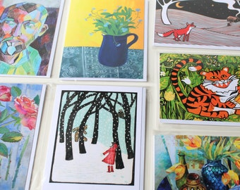 5 Greetings cards - pick your own Fine Art greetings cards and Christmas cards