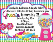 Candy Sweets Gumball Birthday Invitation with Photo Option Print Your Own 5x7 or 4x6