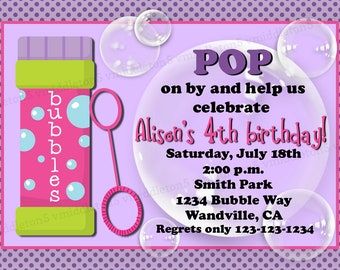 Girl or Boy Options Bubble Birthday Party Invitation with Photo Option Print Your Own 5x7 or 4x6