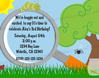 Bug Explore Birthday Invitation Print Your Own 5x7 or 4x6