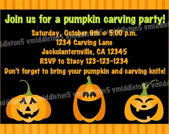 Pumpkin Carving Party Invitation Print Your Own 5x7 or 4x6