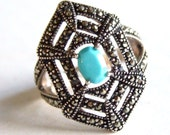 Sterling silver, marcasite turquoise statement ring Large Bold, Goth, Vamp Art Deco Spiders Web Spooktacular 50% off half price Sale