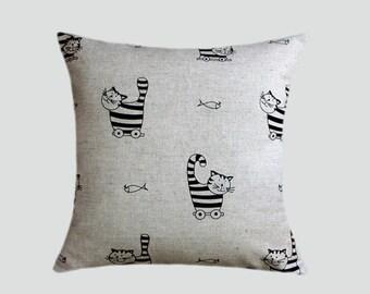 "Decorative Pillow case, Grey  Linen with Cat patterns, Throw pillow case, fits18""x18"" insert, Toss pillow case, Cushion case."