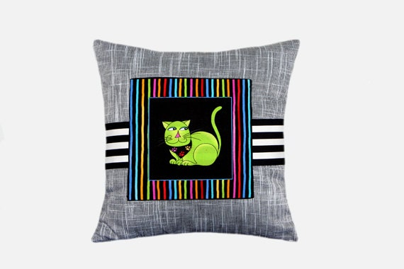 Small Green Decorative Pillow : Grey Cotton small decorative pillow with Green Cat size