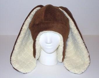 Extra Long Eared Chocolate Aviator Bunny Hat