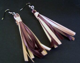 Brown and tan ribon tassel earring