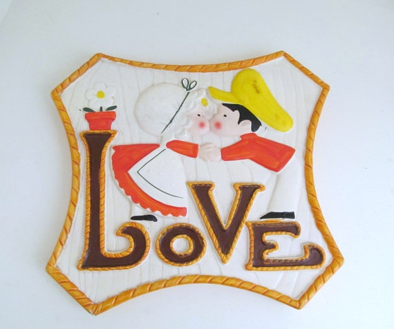 Vintage Holly Hobbie Style LOVE Wall Plaque, 1970s Ceramic Wall Art, Mod Wall Decor