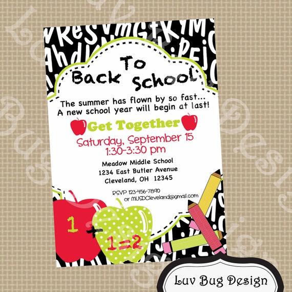 items similar to back to school invite printable party. Black Bedroom Furniture Sets. Home Design Ideas