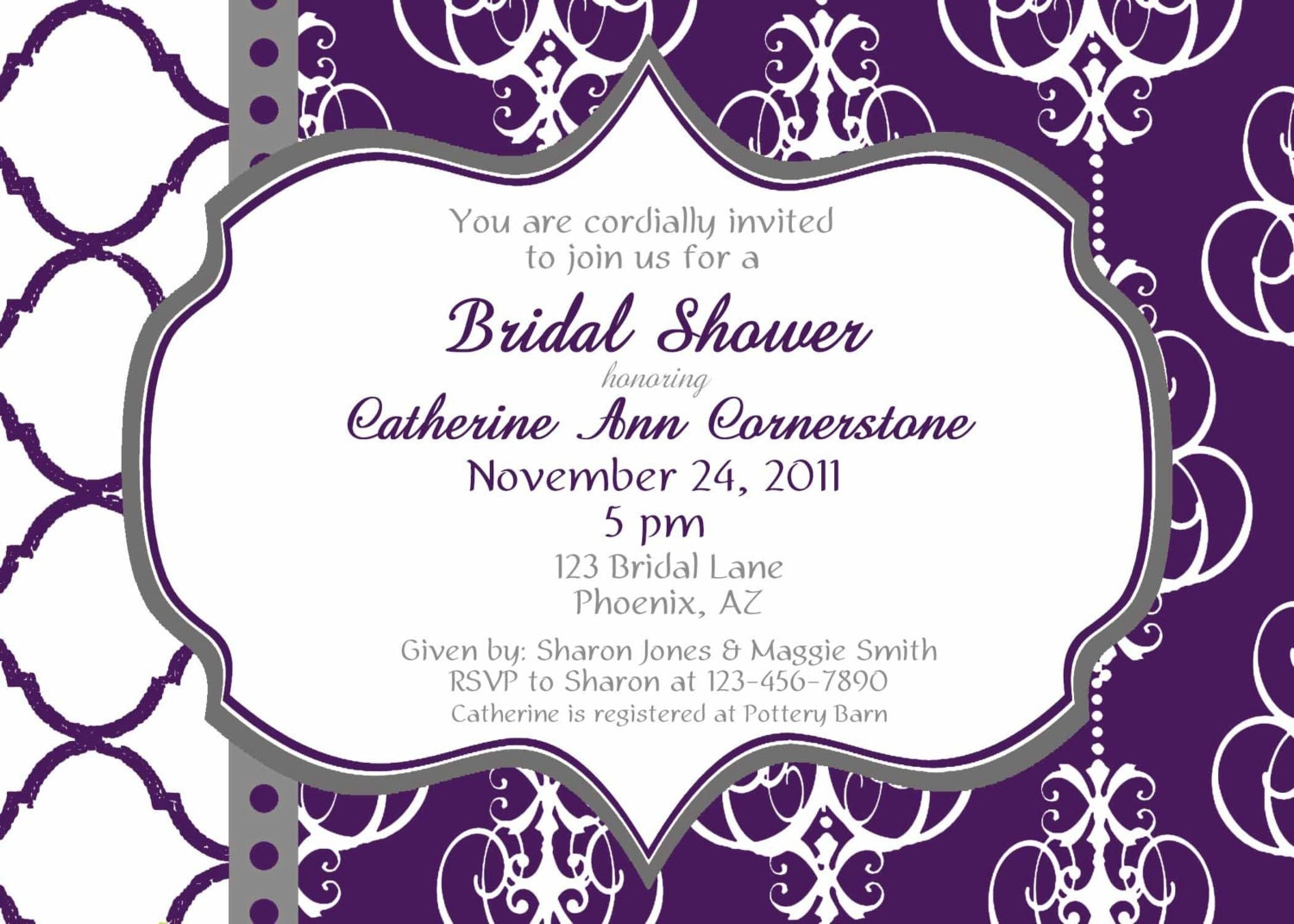 Wedding Shower Invitations Free: Purple Bridal Shower Invitation Printable Party By