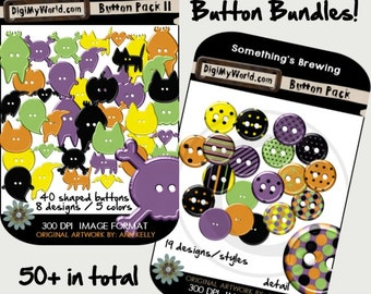 Halloween Colored inspired Buttons high resolution clipart images for digital scrapbooking and card making