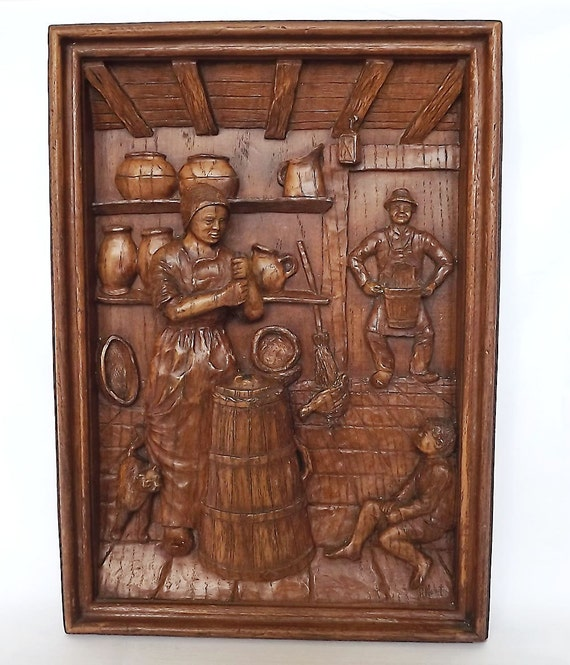 RESERVED - Wooden carved picture of a man and woman - French household scene