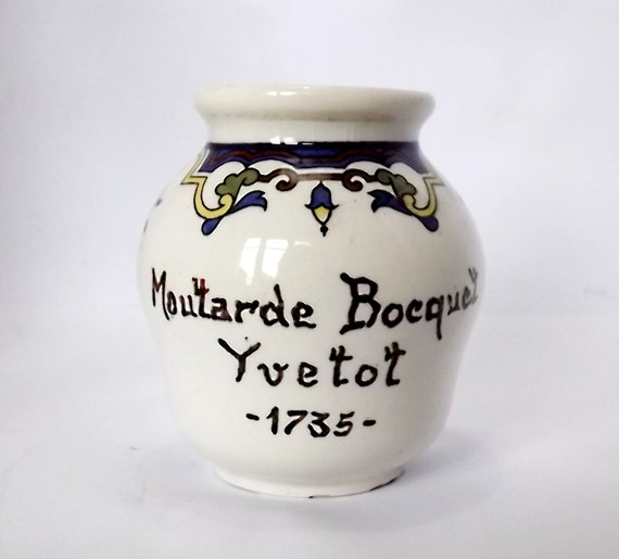 French vintage mustard pot Moutarde Bocquet, Yvetot, made by Sarreguemines
