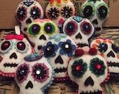 Til Death Do Us Party Sugar Skull Felt Ornament