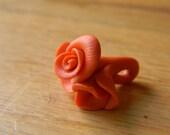 Three Orange Polymer Clay Roses--Pendant or Bead