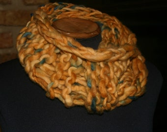 handmade 100% wool hand spun  hand dyed knitted snood