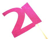 Photo Booth Props - GLITTERY Hot Pink 21 on a stick  - 21st Birthday - GLITTER Photobooth Prop