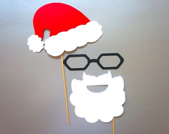 Christmas Photo Booth Props - 3 piece set of Photobooth Props - Santa
