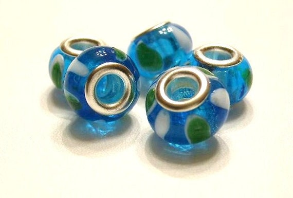 5 Pandora Style, Ocean Blue, Green & White Glass Charm Beads