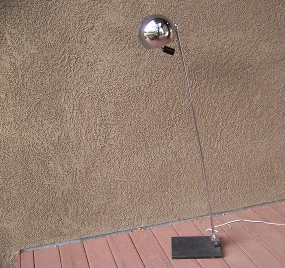 Mid-century floor lamp chrome eyeball adjustable weighted tilting modern modernist