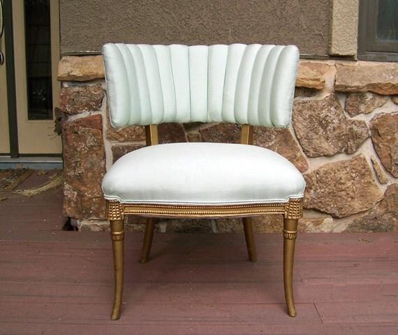 Hollywood Regency slipper chair gilt wood tassels seafoam green silk