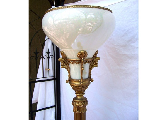 Antique French Torchiere Floor Lamp Elegant Opalescent