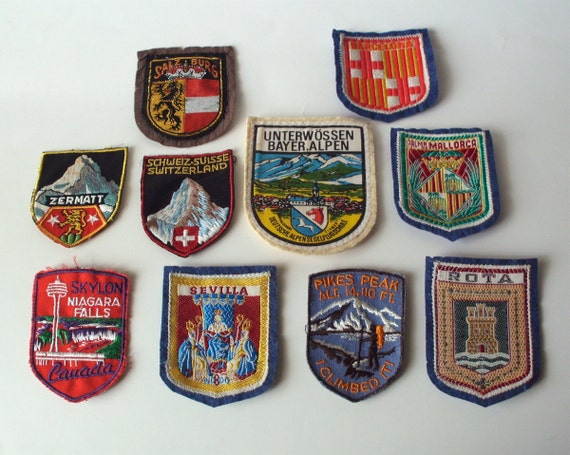 Vintage Travel Fabric Patches