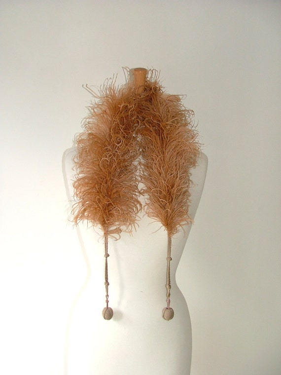 Vintage Art Deco flapper style ostrich marabou feather boa collar scarf with ball rope fasteners burlesque