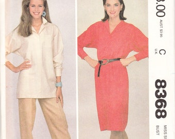 1983 sewing pattern McCall's 8368 misses dress or tunic and pants size 10 bust 32