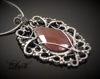 Carnelian gothic elvish pendant - sterling silver