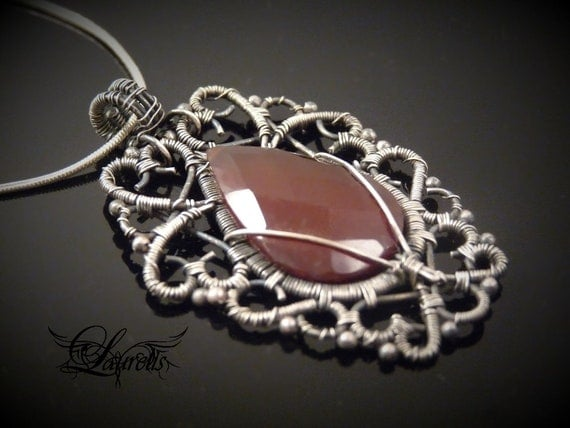 Carnelian gothic elvish pendant - sterling silver
