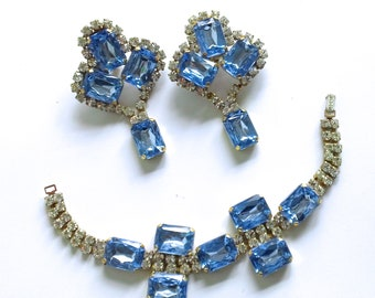 Czech Blue Rhinestone Statement Bracelet Earring Set Brides Wedding Retro Glamor Jewelry