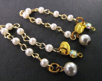 8 Vintage Faux Pearl and AB Rhinestone Bead Dangles Ch185