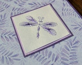 Purple Beetle or Dragonfly mauve leafy background Hand Embroidered Card