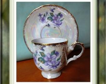 Vintage Teacup and Saucer Violets