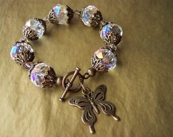 Antique Bronze & Crystal Butterfly Bracelet