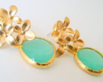 925 Sterling silver mint green framed glass drop gold plated floral post earrings wedding jewelry bridal jewelry bridesmaid gifts